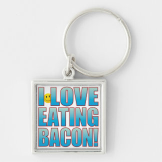 Eat Bacon Life B Silver-Colored Square Keychain