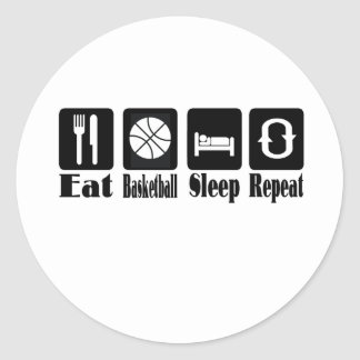 eat basketball sleep and repeat classic round sticker