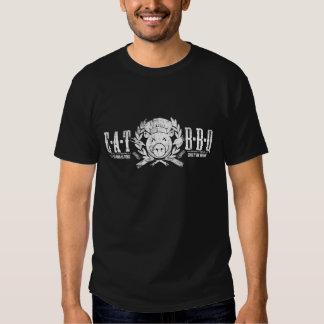 Eat BBQ Crest - Worn white print T-Shirt