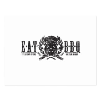Eat BBQ Worn Light Postcard