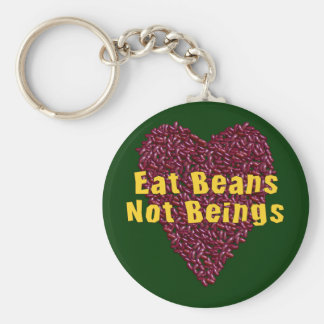 Eat Beans Not Beings Basic Round Button Keychain