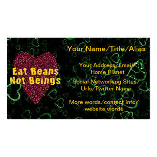 Eat Beans Not Beings Double-Sided Standard Business Cards (Pack Of 100)