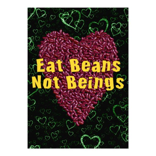 Eat Beans Not Beings Personalized Announcement