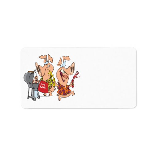 eat beef funny barbecue BBQing pigs Address Label