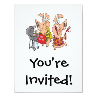 eat beef funny barbecue BBQing pigs Card