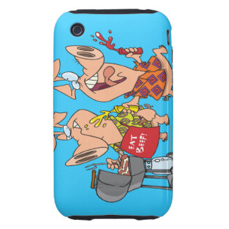 eat beef funny barbecue BBQing pigs iPhone 3 Tough Covers