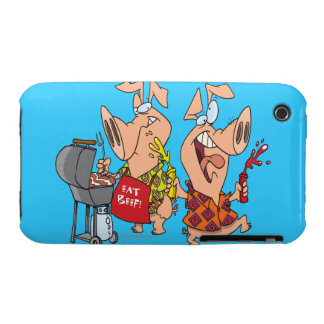 eat beef funny barbecue BBQing pigs Case-Mate iPhone 3 Cases