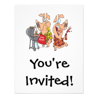 eat beef funny barbecue BBQing pigs Custom Invites