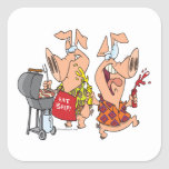 eat beef funny barbecue BBQing pigs Sticker