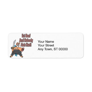 eat beef funny karate ninja pig cartoon return address label