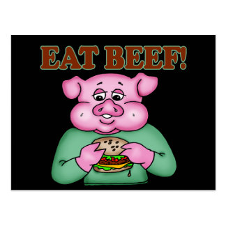 Eat Beef Funny T-shirts Gifts Postcard
