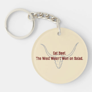 Eat Beef the West wasn't won on Salad Quote Keychains