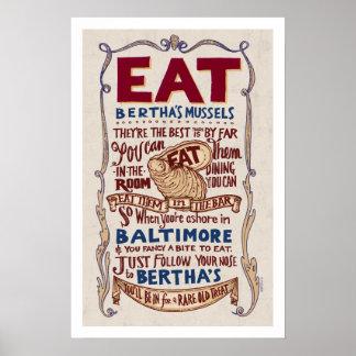 Eat Bertha's Mussels Broadside Poster