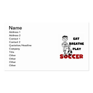 Eat Breathe Play Soccer T shirts and Gifts Business Card