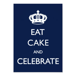 Eat Cake and Celebrate Birthday Invite- Navy 5x7 Paper Invitation Card