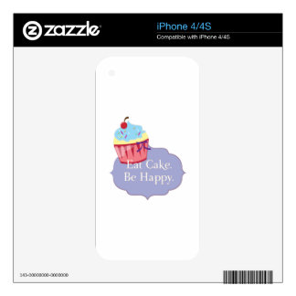 Eat Cake Be Happy iPhone 4S Skins