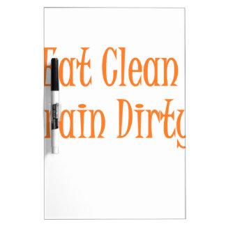 eat clean orange dry erase board
