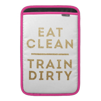 Eat Clean Train Dirty Gold Glitter Logo Case MacBook Sleeves