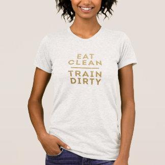 Eat Clean Train Dirty Gold Glitter Look T Shirt
