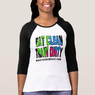 Eat Clean Train Dirty, Macros by Misti 3/4 Sleeve T-Shirt
