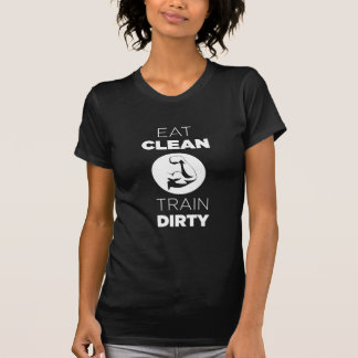 Eat Clean Train Dirty Muscle Sport Fitness Black Tee Shirt