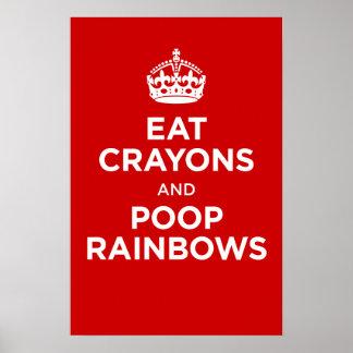 eat crayons and poop rainbows print