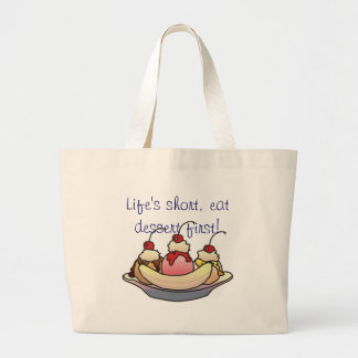EAT DESSERT FIRST by SHARON SHARPE Large Tote Bag