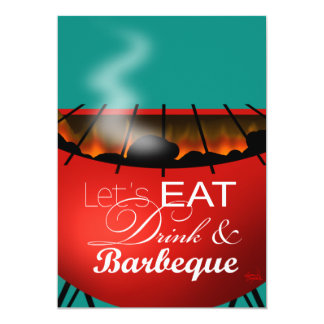 Eat Drink and Barbeque 4th of July Family BBQ Card