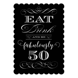 Eat Drink and be Fabulously Fifty Birthday Party Card