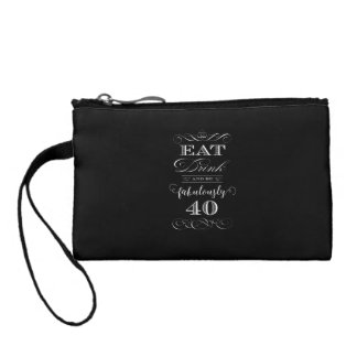 Eat Drink and be Fabulously Forty Birthday Party Coin Wallet