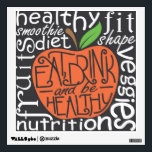"""Eat, drink and be healthy quote design wall decal<br><div class=""""desc"""">Eat,  Drink and be healthy quote design in the shape of an apply,  custom lettering used. Health keywords serve as background.</div>"""