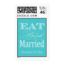 Eat Drink and be Married - Aqua Blue and White Stamps