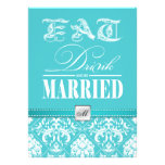 Eat, Drink and be Married - Aqua Blue Damask Personalized Invite