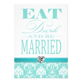 Eat Drink and be Married - Aqua Blue Damasked Personalized Announcement