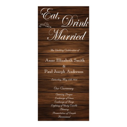 Eat Drink and be married barn wood program Personalized Rack Card