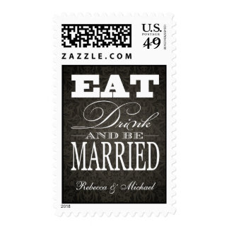 Eat Drink and be Married - black damask Postage