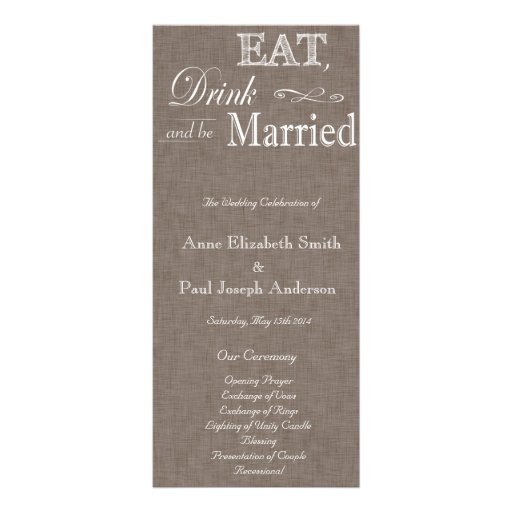 Eat Drink and be married brown fabric program Customized Rack Card