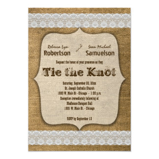 Eat Drink And Be Married Burlap And Lace Design Card