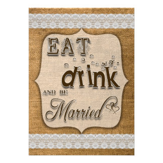 Eat Drink And Be Married Burlap And Lace Design Personalized Announcement
