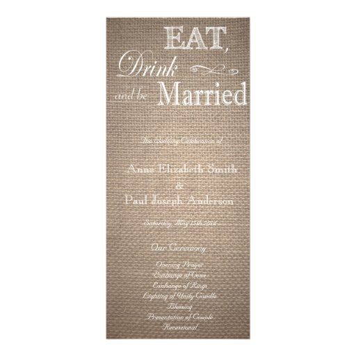 Eat Drink and be married burlap program Rack Card Template