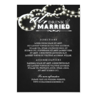 Eat Drink and Be Married Chalk Wedding Details Card