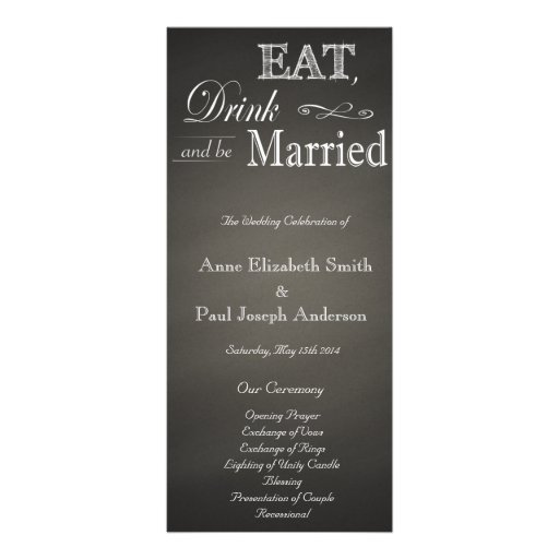 Eat Drink and be married chalkboard program Rack Card Design