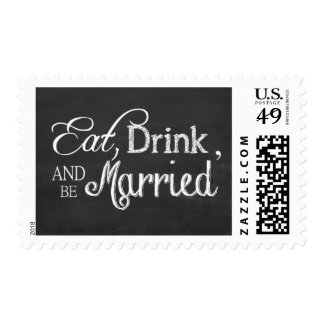 Eat, Drink and be Married Chalkboard Stamp