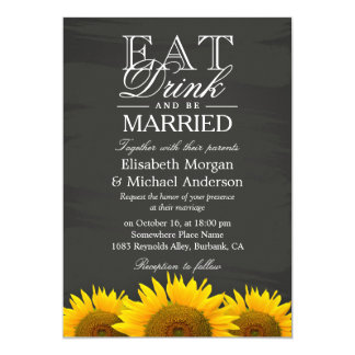 EAT Drink and Be Married Chalkboard Sunflowers Card