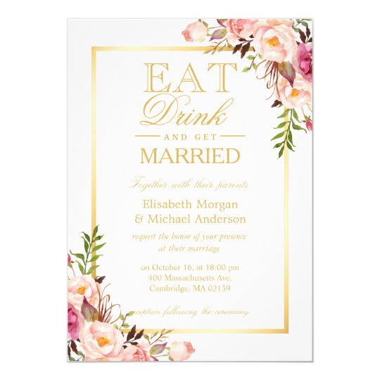 EAT Drink and Be Married Chic Gold Floral Wedding Card | Zazzle.com