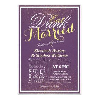 EAT Drink and Be Married Chic Purple Gold Glitter Card