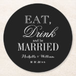 "Eat drink and be married classy wedding coasters<br><div class=""desc"">Eat drink and be married fancy wedding party paper coasters. Elegant black and white design for i do bbq, chic bridal shower, stylish engagement, classy anniversary, fun bachelorette etc. Classy typography design. Personalized with monogram or name of bride and groom plus date of marriage. Pretty vintage template print. Cute party...</div>"