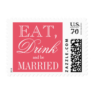 Eat drink and be married coral pink wedding stamps