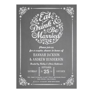 Eat Drink and Be Married Couples Shower Invitation