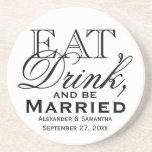 Eat, Drink, and Be Married Custom Wedding Sandstone Coaster
